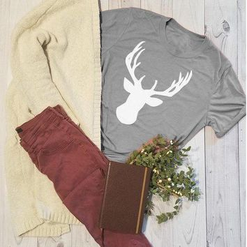 Merry Christmas Deer T-Shirt Funny Deer Printed Tee Casual Summer Girl Top Stylish Gray Happy Christmas Partty Outfits Camisetas