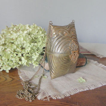 Vintage metal purse brass hinged pillow purse with chain owl metal  collectible
