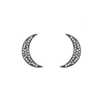 Ashley Schenkein Jewelry - Kyoto Crescent Moon Pave Stud Earrings