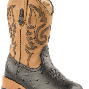 Roper Infant Western Sqtoe Faux Leathr Sole Boots Black Faux Ostrich Vamp Tan Shaft