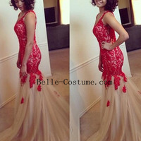 Red Mermaid Prom Dress, Red Lace Prom Dresses, Red Lace Mermaid Formal Prom Dress