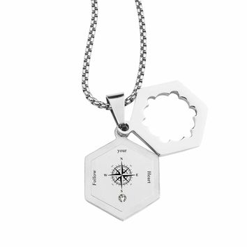 Life Compass Double Hexagram Necklace with Cubic Zirconia by Pink Box - FOLLOW YOUR HEART