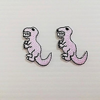 Set 2 pcs. Pink Dinosaur Patch - Tyrannosaurus T Rex New Iron On Patch Embroidered Applique Size 2.5cm.x3cm.