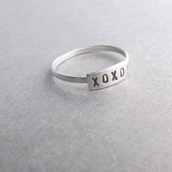 XOXO Stacking Ring, Personalized Rings, Bar Rings, Initial Rings, Bar Stacking Rings, Sterling Ring,  Rings, Family Rings