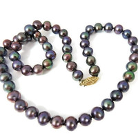 Peacock Pearl Necklace 14k Gold Filgree Clasp
