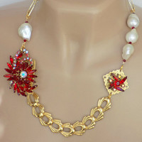 Statement Necklace, Red, Repurposed, Vintage Jewelry, Handcrafted, Baroque Pearls, Gold Chain, Rhinestone, Short, Bold, Elegant, Unique