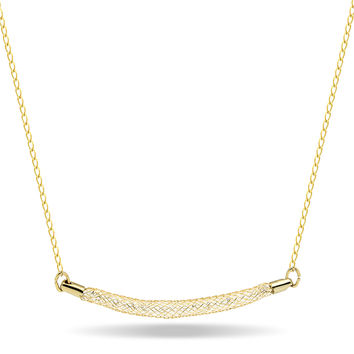 Mesh Bar Necklace Filled with Crystals,14K Gold Plated Birthstone Tube Necklace