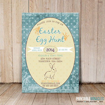 Easter Invitation / Printable digital Easter Brunch Invite / Easter Egg Hunt invitation / Easter party invite card
