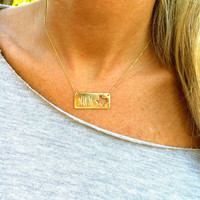 Monogram Cutout State Bar Necklace – I Love Jewelry
