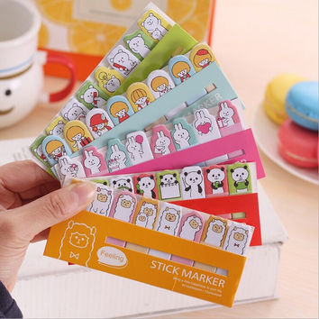 D21 1X Kawaii Cute Cartoon Memo Pad Bookmark Planner Sticker School Supplies Stationery Sticky Notes Notepad Papelaria