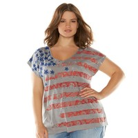 Rock & Republic American Flag Embellished Graphic Tee - Women's Plus Size, Size: