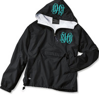 Black Double Monogrammed Pullover Wind Jacket