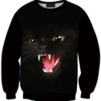 Cat Open Mouth Print Long Sleeve Sweatshirt