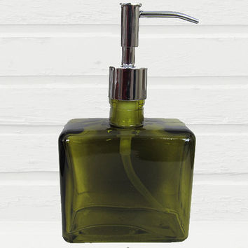 Recycled Glass Soap Dispenser Pump | Square Green Hand Soap Dispenser Bottle | Modern Bathroom Decor | Lotion Dispenser | Soap Container