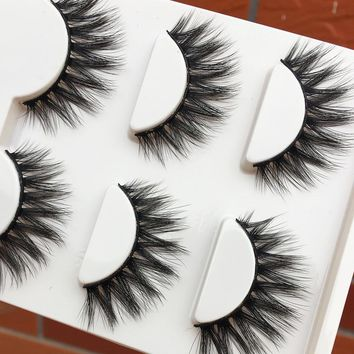 3 pairs Exaggerated Black Thick False Eyelashes Cross Curling Messy Soft 3D Fake Eyelashes Smoked Makeup Long Eyelash Extension
