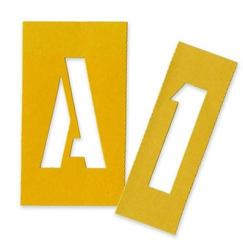 """chartpak painting stencil numbers/letters, 3"""", yellow Case of 4"""