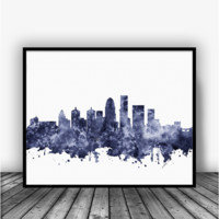 Louisville Skyline Black Art Print Poster