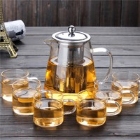 Heat Resistant Glass Teapot Tea Set With Stainless Steel Filter