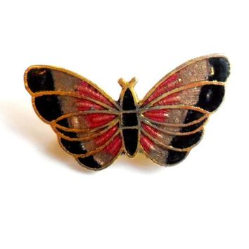 Vintage Cloisonne Butterfly Brooch - Broach Pin - Petite Small Size - Black Pink Gray Grey - Gold Tone Metal - Enamel Brooch - Gift for Her