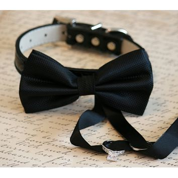 Black Dog Bow Tie collar, Dog ring bearer, proposal