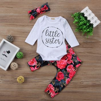 Little Sister Flower Pants Outfit with Headband