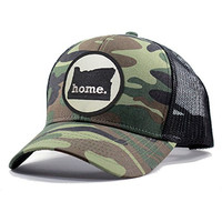 Homeland Tees Men's Oregon Home State Army Camo Trucker Hat - Black