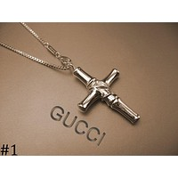 GUCCI men and women couple models geometric square tag necklace F-HLYS-SP #1