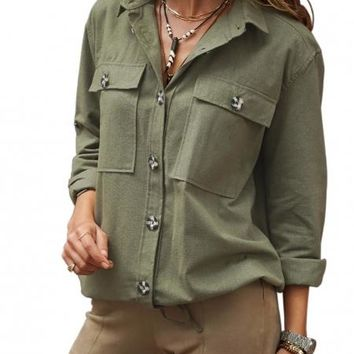 Women Army Green Buttoned Pockets Shirt