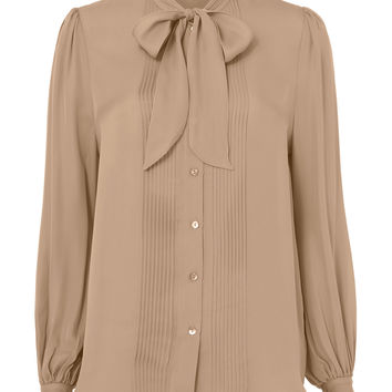 Brooke Tie Neck Pleated Blouse
