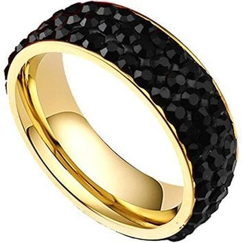 7mm Titanium Stainless Steel 18K Gold Pave Black CZ Cubic Zirconia Wedding Band Engagement Ring