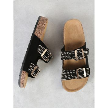 Studded Double Buckle Strap Cork Footbed Slide Sandal BLACK