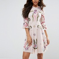 Frock And Frill Tall Premium Embellished Mini Smock Dress With Fluted Sleeve at asos.com