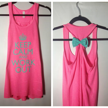 Neon Pink with Mint Bow, Keep Calm and Workout Tank Top, Womens Workout Tank, Workout Bow Tank, Fitness Tank
