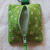 Keychain, Zip Purse,Small Items Pouch, Change Purse, Daisies