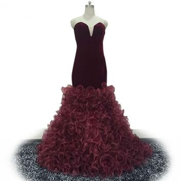 Mermaid Dresses Floor Length Evening Dress Gowns Velvet Dresses