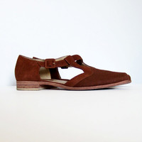 Leather Cutout Shoes Vintage 90s Casual Brown Summer Flats Minimalist Brazil Tstrap T strap Shoes Size 8.5