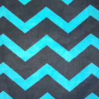 Zig Zag Turquoise and Black Chevron Flannel Fabric, 1/2 Yard, more available