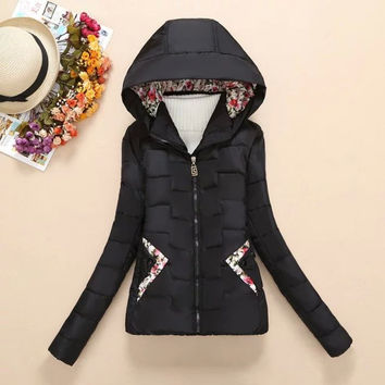 Floral Print Patch Hoodie Winter Jacket