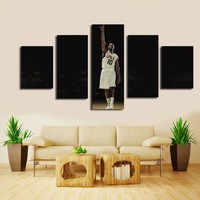 Framed 5 Panels Canvas Printed Basketball Star Painting On Canvas Modern Wall Art for Home Decorations Wall Decor Artwork Framed