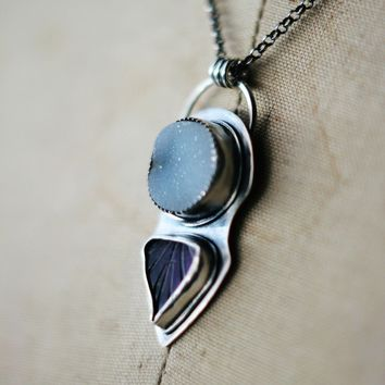 Memento Naturae White Quartz Druzy and Carved Amethyst Leaf Pendant in Sterling Silver