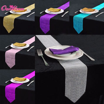 6Pcs Luxury Table Runners for Wedding Decoration 275*12CM Bling Sparkly Diamond Mesh Crystal Table Runner Event Party Supplies