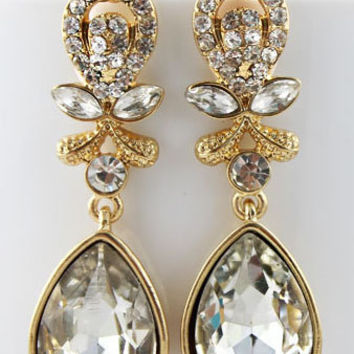 Clear Gemstone Gold Drop Dangles Gauges Plugs Earrings