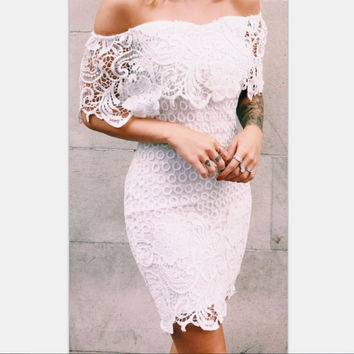Hot Sale White Lace Strapless Slim One Piece Dress [8096855943]
