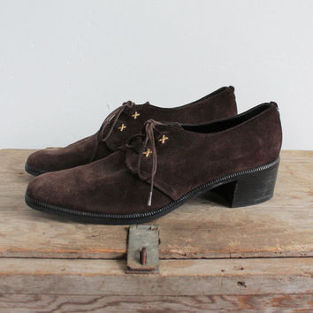 Vintage 80s Brown Suede Heeled Lace Up Oxfords | women's 8.5