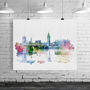 London watercolor art, London print, Poster, Wall art, City watercolor, Art print, Gift, Home Decor, Digital Print, Art Print, ArtFilesVicky