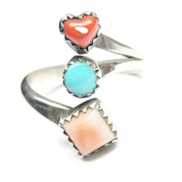 Coral Turquoise Spiny Oyster Heart Crossover Ring Sterling Sz 9