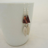 Jasper Earrings, Triangle Jasper Earrings, Long Brown Jasper Earrings