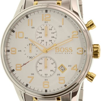 Hugo Boss Aeroliner Gold / Silver Stainless Steel Analog Quartz Chronograph Men's Watch 1513236