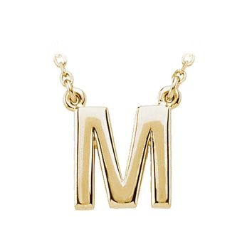 14K Yellow Gold, Kendall Collection, Block Initial M Necklace, 16 Inch