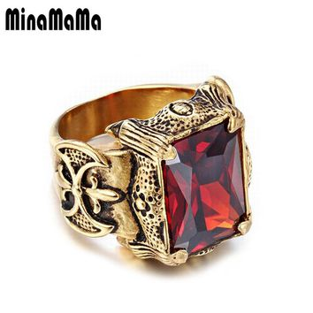 Men's Jewelry Stainless Steel Seal Style Gold Color Shining Big Crystal Rings For Women Men Punk Rock Dragon Signet Rings